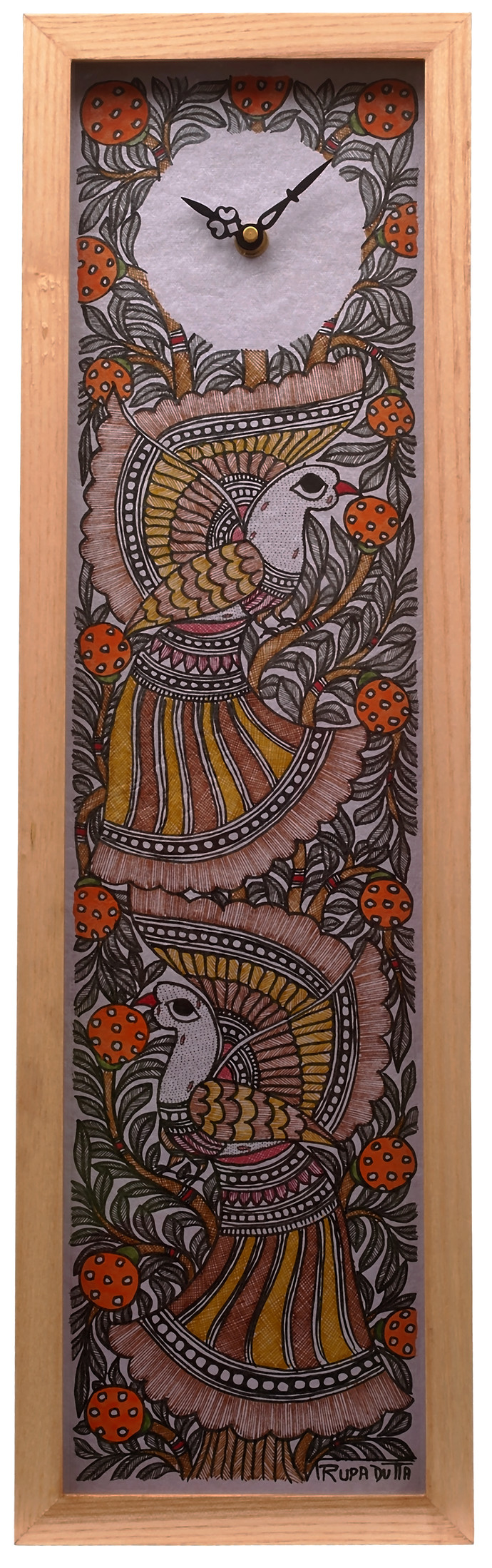Madhubani Wall Clock Peacock Wall Decor By Crafel