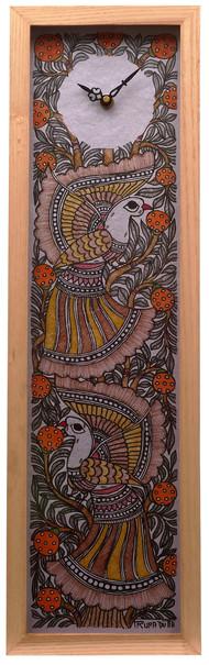 Madhubani Wall Clock - Peacock Wall Decor By Crafel