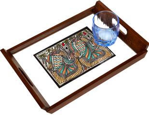Madhubani Teakwood Tray - Swan Serveware By Crafel
