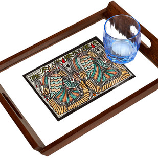 Madhubani Teakwood Tray - Swan Serveware By Crafel