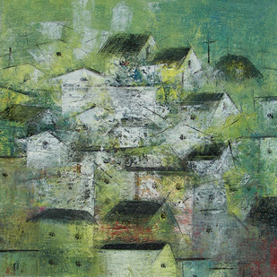 The Village by M Singh, Impressionism Painting, Acrylic on Canvas, Green color