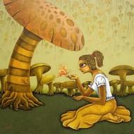 Yauvana IV by Ramchandra Pokale, Fantasy Painting, Acrylic on Canvas, Beige color