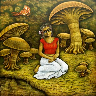 Yauvana V by Ramchandra Pokale, Fantasy Painting, Acrylic on Canvas, Brown color