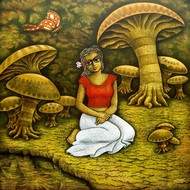 Yauvana V by Ramchandra Pokale, Fantasy Painting, Acrylic on Canvas, Brown color
