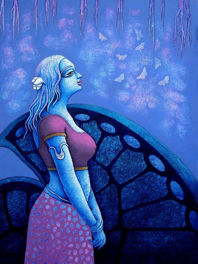 Yauvana VIII by Ramchandra Pokale, Decorative Painting, Acrylic on Canvas, Blue color