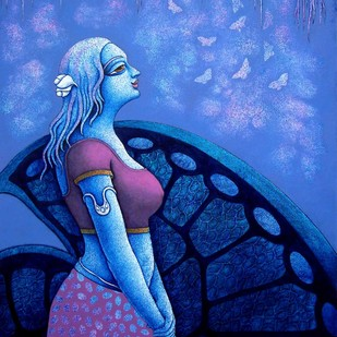 Yauvana VIII by Ramchandra Pokale, Decorative Painting, Acrylic on Canvas, Blue color