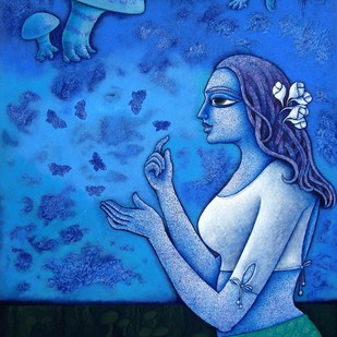 Yauvana X by Ramchandra Pokale, Decorative Painting, Acrylic on Canvas, Blue color