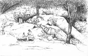 Cubbon Park, Bangalore. by Badal Majumdar, Illustration Drawing, Pen & Ink on Paper, Gray color