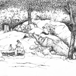 Cubbon Park, Bangalore. by Badal Majumdar, Illustration Drawing, Pen & Ink on Paper, Gray color