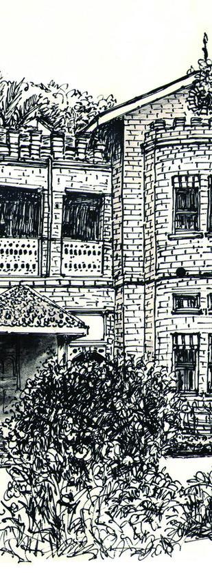 Stone Building (demolished) at M. G. Road, Bangalore by Badal Majumdar, Illustration Drawing, Pen & Ink on Paper, Gray color