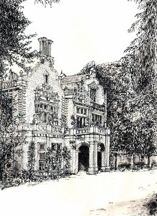 Purna Prasadh Building, Race Cource Road, Bangalore by Badal Majumdar, Illustration Drawing, Pen & Ink on Paper, Gray color