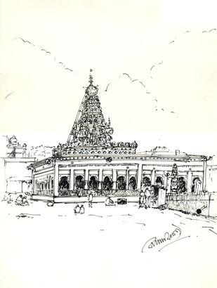 SHRI SHARANA BASAVESWARA TEMPLE.GULBARGA. by Badal Majumdar, Illustration Drawing, Pen & Ink on Paper, White color