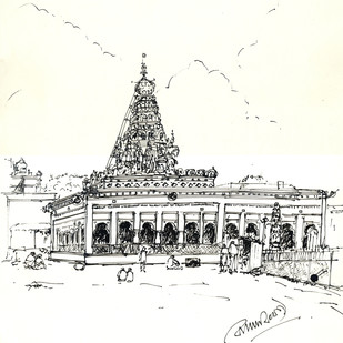 SHRI SHARANA BASAVESWARA TEMPLE.GULBARGA. by Badal Majumdar, Illustration Drawing, Pen & Ink on Paper, White color