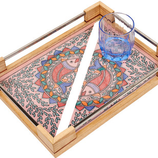 Stainless Steel and Whiteoakwood Tray - Madhubani- Fish Serveware By Crafel