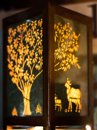 Sanjhi Tree of Life Table Lamp - Green Gold Table Lamp By Crafel