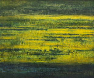 Untitled by P. Saraswati, Abstract Painting, Acrylic on Canvas, Green color