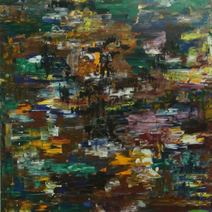 Water Reflections by S. Venkatachalapathy, Impressionism Painting, Acrylic on Canvas, Green color