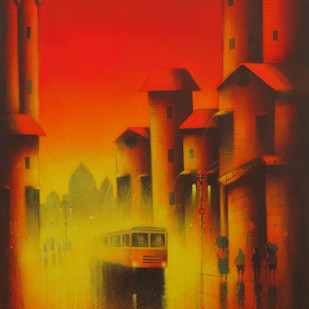 Red Composition by Somnath Bothe, Impressionism Painting, Acrylic on Canvas, Brown color