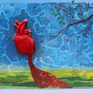 Thread in Heart by Pranati Das, Decorative Painting, Mixed Media on Canvas, Blue color