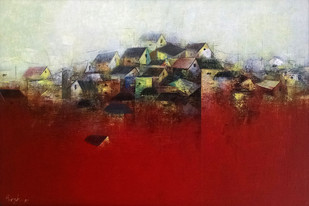 The Village by M Singh, Abstract Painting, Acrylic on Canvas, Red color