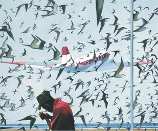 Untitled by Shibu Natesan, Decorative Printmaking, Digital Print on Paper, Cyan color
