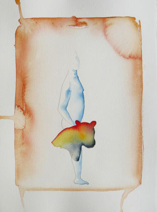 untitled by Jehangir Jani, Minmalism Painting, Watercolor on Paper, Gray color