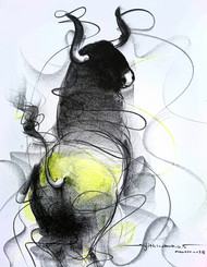 Bull Drawing 601 by Sujith Kumar GS Mandya, Impressionism Drawing, Pencil on Paper, Gray color