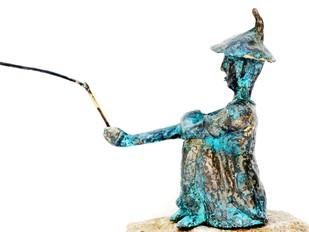 Fisherman by Usha Ramachandran, Decorative, Impressionism Sculpture   3D, Bronze, White color