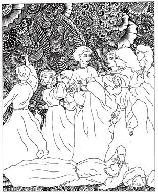 The ten virgins (Parable of Jesus) Digital Print by Satavisha Chakrabarty,Illustration