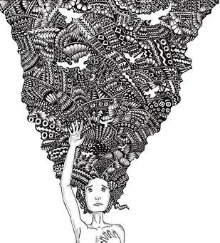 Thoughts Digital Print by Satavisha Chakrabarty,Decorative, Illustration