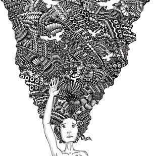 Thoughts by Satavisha Chakrabarty, Decorative, Illustration Painting, Digital Print on Paper, Gray color