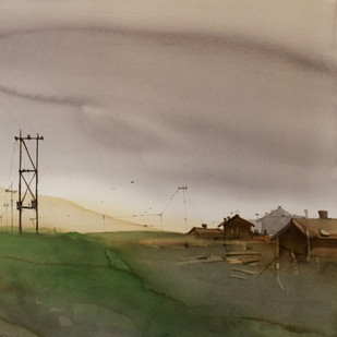 Wild West In The North East by Prashant Prabhu, Impressionism Painting, Watercolor on Paper, Brown color