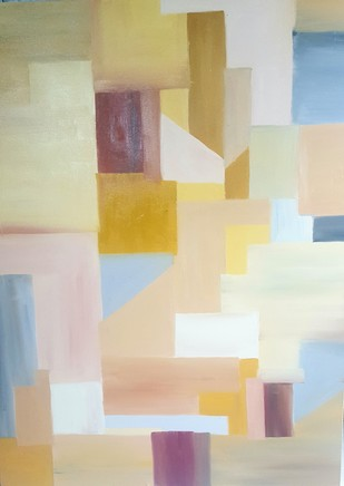The Right Angles by Taru Shikha, Abstract, Geometrical Painting, Oil Pastel on Canvas, Beige color