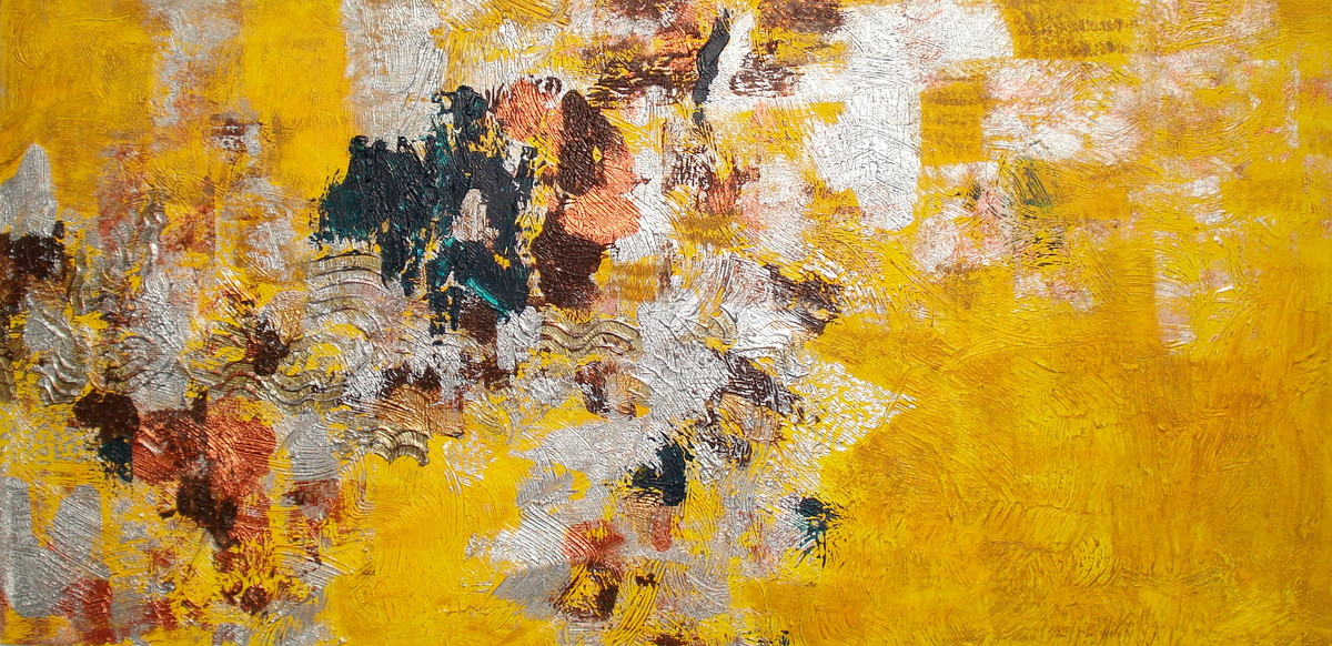 In the meadows of Spring by Alka Raghuvanshi, Abstract Painting, Acrylic on Canvas, Orange color