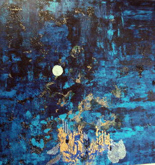 Dance of the Fireflies by Alka Raghuvanshi, Abstract Painting, Acrylic on Canvas, Blue color