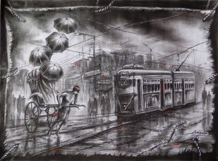 Kolkata At Monsoon by Ananda Das, Impressionism Drawing, Charcoal on Paper, Gray color