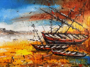 Boats by Ananda Das, Impressionism Painting, Acrylic on Canvas, Brown color