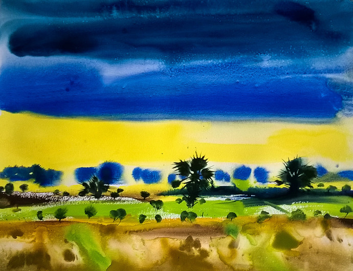 sabuj by Santosh Keshari , Impressionism Painting, Watercolor on Paper, Blue color
