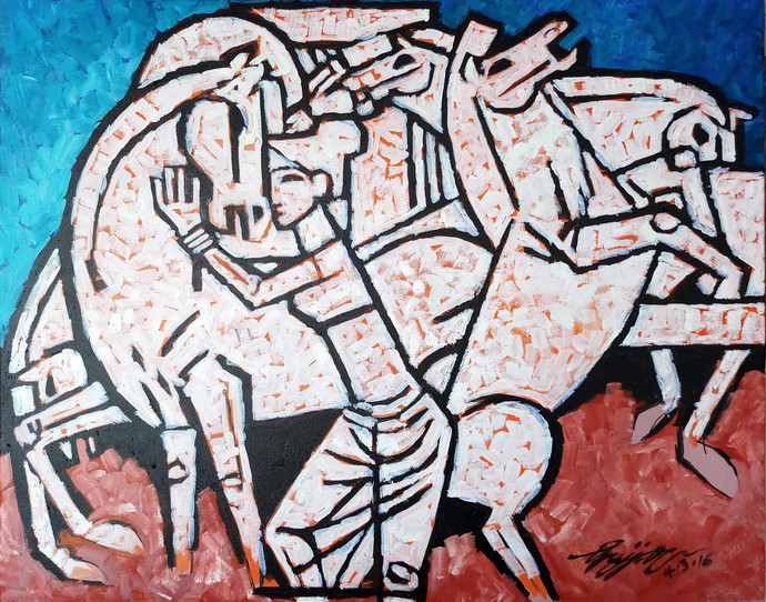 girl with wild horses by Gujjarappa B G, Geometrical, Impressionism Painting, Acrylic & Ink on Canvas, Brown color