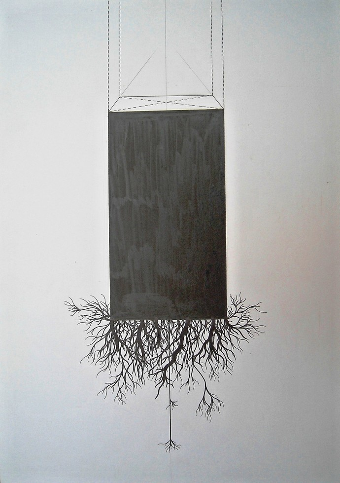 Growth Series by Parag Tandel, Illustration Drawing, Ink on Paper, Gray color