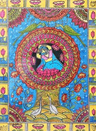 Women Power - Beyond Mithila Series by Shelly Jyoti, Folk Painting, Acrylic & Ink on Paper, Brown color