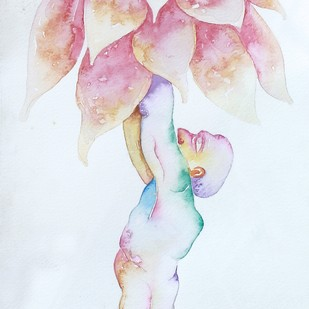 I am plant -2 by B O Shailesh, Fantasy Painting, Watercolor on Paper, Cyan color