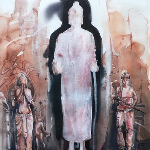 Catastrophe by Asish Kumar Das, Impressionism Painting, Watercolor on Paper, Brown color