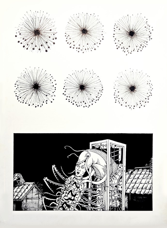 Nightmare in Mayong by Raktim Parashar, Expressionism, Fantasy Drawing, Ink on Paper, Gray color