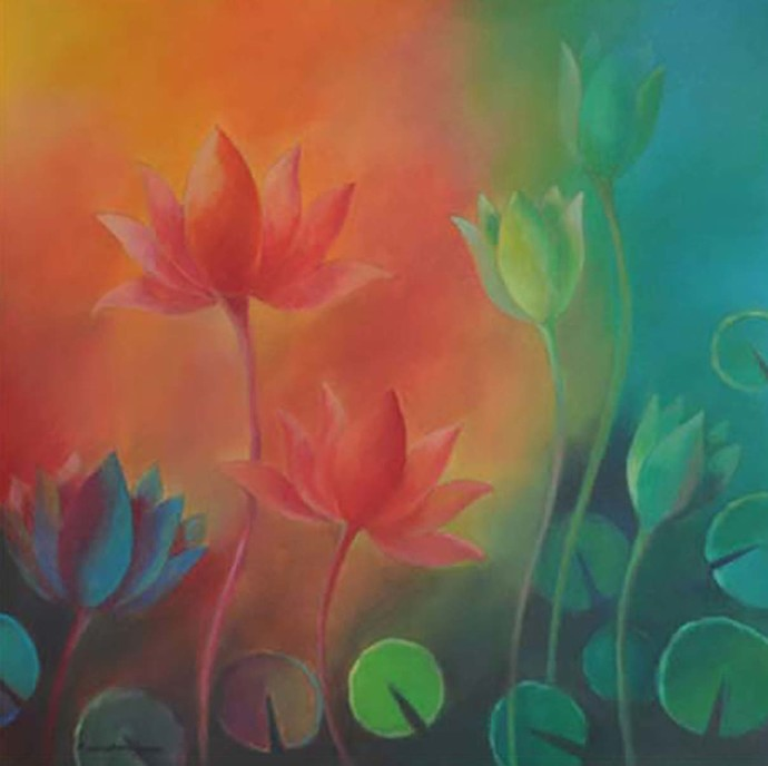 Spiritual Lotus by Manisha Raju, Impressionism Painting, Acrylic on Canvas, Brown color