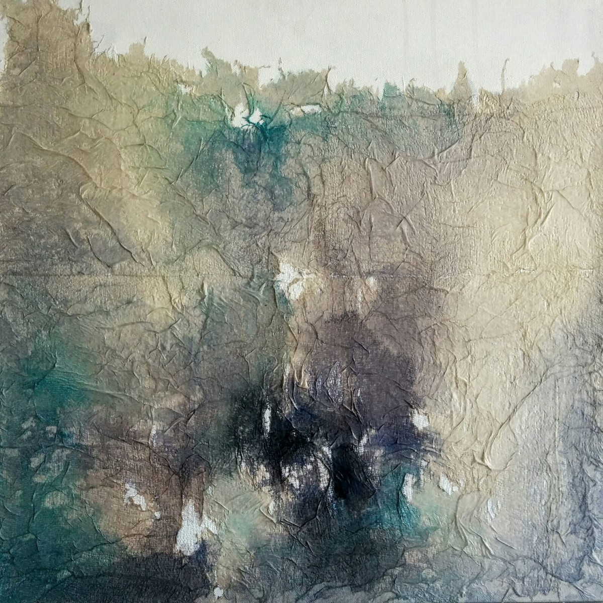 Untitled by Madhuri Kathe, Abstract Painting, Acrylic on Canvas, Beige color