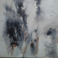 Untitled by Madhuri Kathe, Abstract Painting, Acrylic on Canvas, Gray color