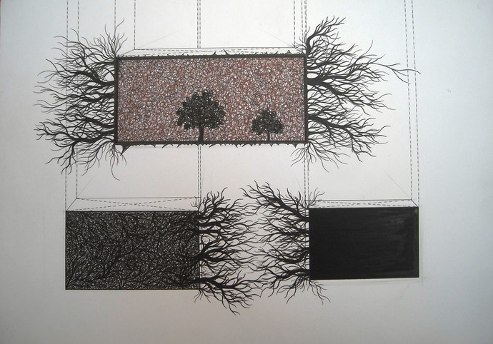 Growth Series by Parag Tandel, Illustration Drawing, Acrylic on Canvas, Gray color