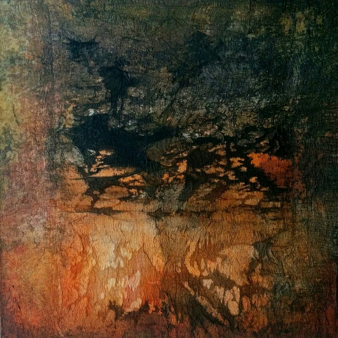 Untitled by Madhuri Kathe, Abstract Painting, Acrylic on Canvas, Brown color