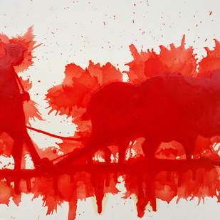 Motherland by Pradeep L Mishra, Traditional Painting, Oil on Paper, Red color